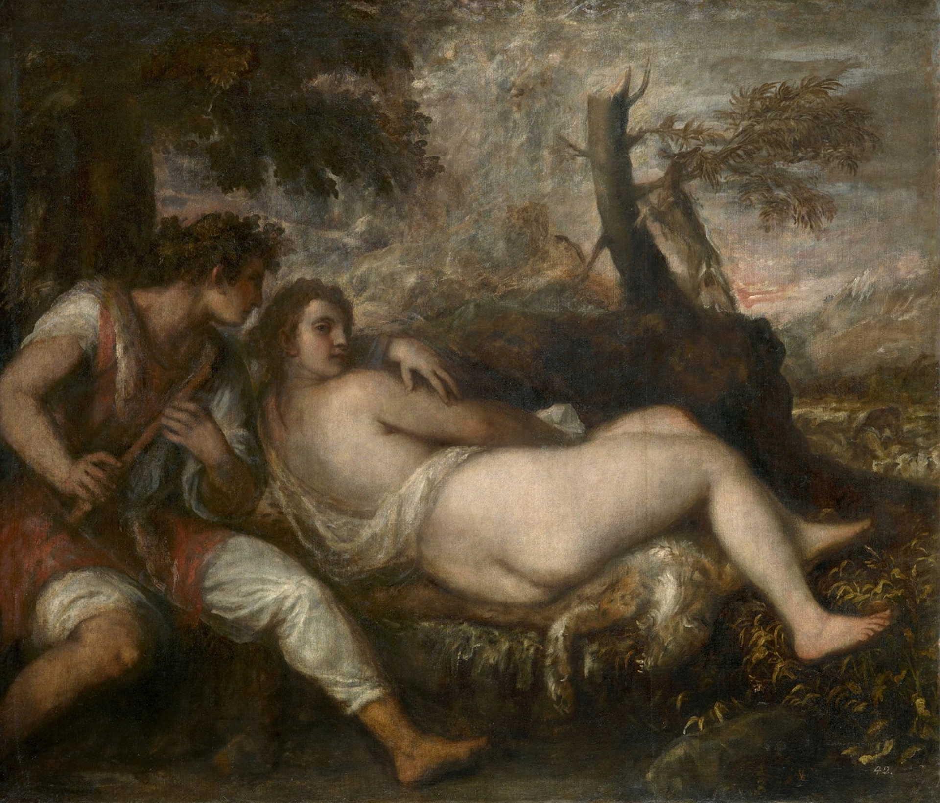 Tiziano: Pásztor és nimfa
